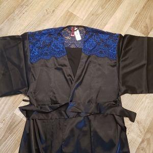 La Senza Black Satin and Blue Lace Kimono
